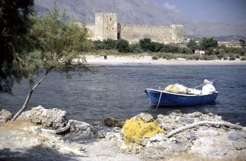 Kaiki by the castle of Frangokastello